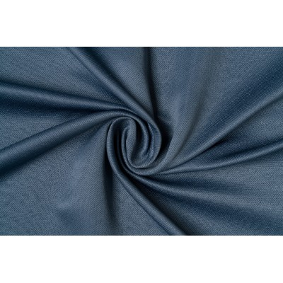 Single colour curtain in blue with design