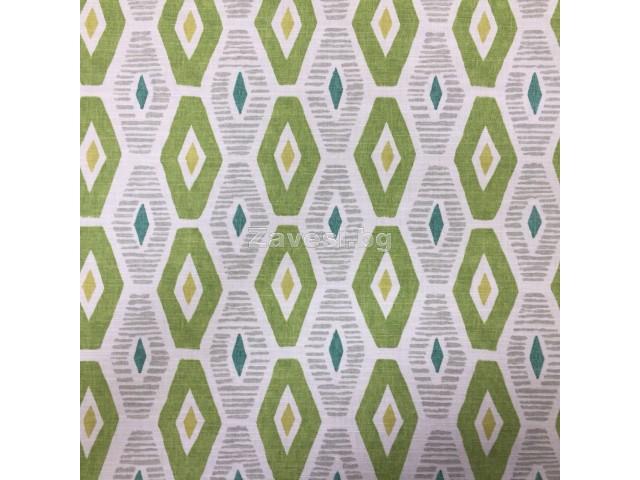 Плат за плътна завеса с ромбоидни форми в зелено