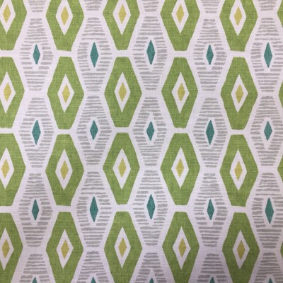 Curtain with geometric forms in green