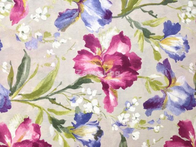 Плат за плътна завеса с цветя