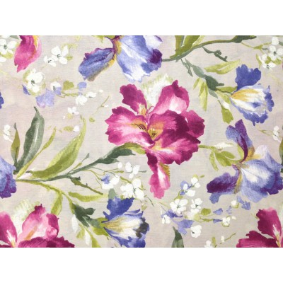 Curtain with flowers in purple and blue