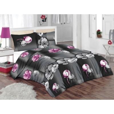 Двоен спален комплект с два плика ранфорс в сиво с флорални мотиви в розово