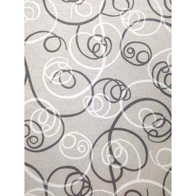 Curtain with spiral elements in grey