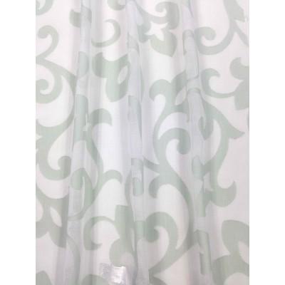 Плат за тънко перде имитиращ естествена материя с бледо зелени мотиви