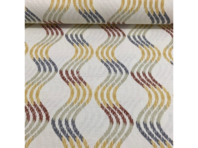 Плат за плътна завеса и дамаска на вълни в жълто и кафяво
