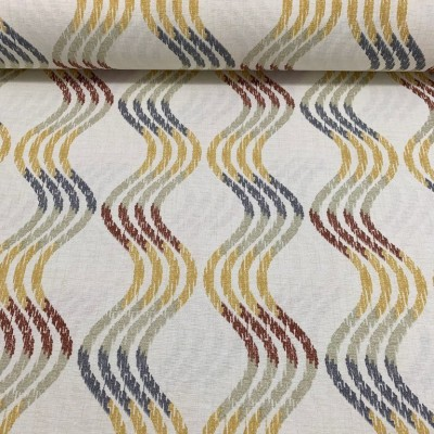 Curtain and upholstery with waves in yellow and brown