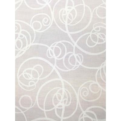 Плат за тънки пердета със спираловидни елементи в бяло