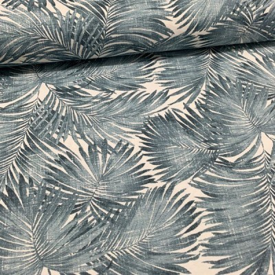 Curtain and upholstery with palm leaves in blue