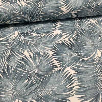 Плат за плътна завеса и дамаска с палмови листа в синьо