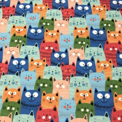 Плат за плътна детска завеса с дигитален печат Цветни котки