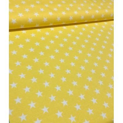 Плат за плътна завеса и дамаска с бели звезди на жълт фон