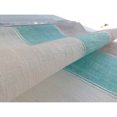 Curtain with stripes in turquoise, white and beige