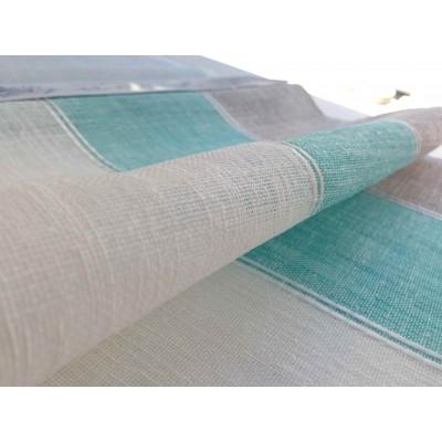 Плат за тънко перде имитиращо естествена материя в тюркоаз, бяло и бежово райе