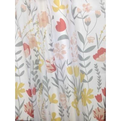 Плат за тънко перде с флорални мотиви в жълто и оранжево