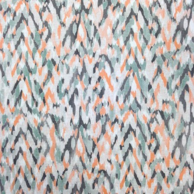 Curtain with colorful splashes in orange and green