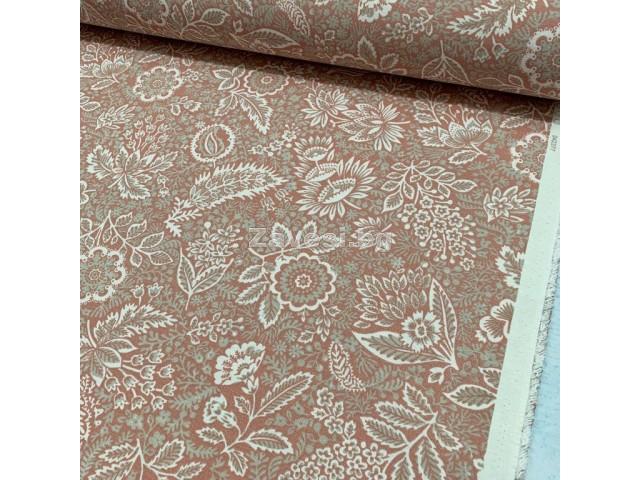 Плат за плътна завеса и дамаска с флорални мотиви на бледо розов фон