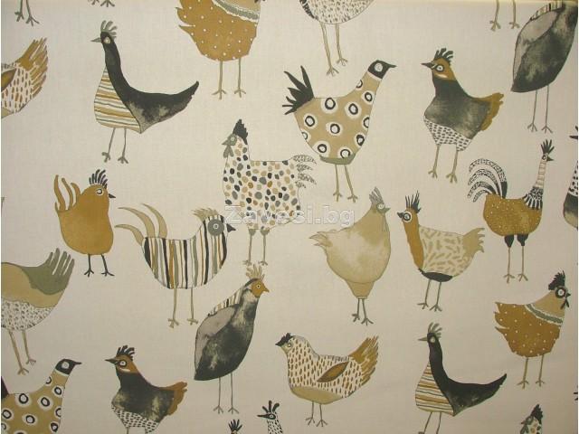 Плат за плътна детска завеса с кокошки