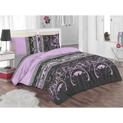 Двоен спален комплект с два плика ранфорс Лили в лилаво и черно