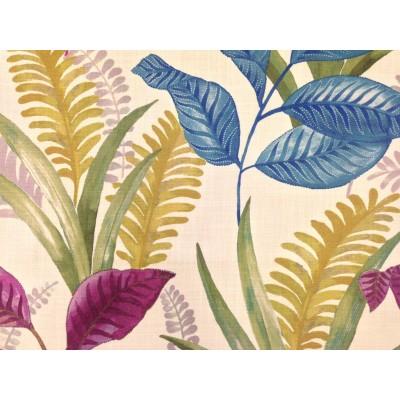 Плат за плътна завеса с листа в синьо, лилаво и зелено