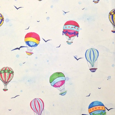 Curtain for children with air baloons on white background