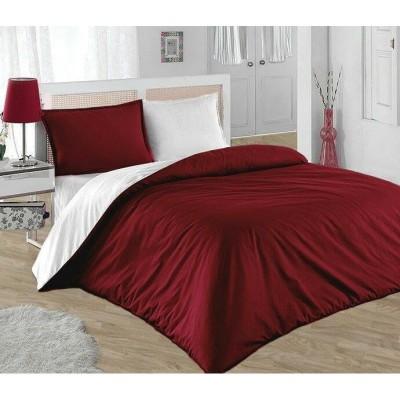 Единичен двуцветен спален комплект ранфорс в бордо и бяло