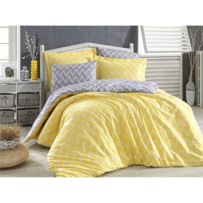 Двоен спален комплект Зиг заг в жълто и сиво