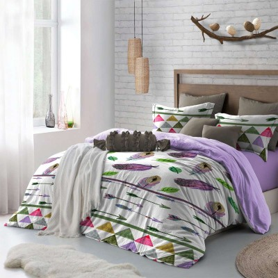 Double bedding set with design Feathers in purple