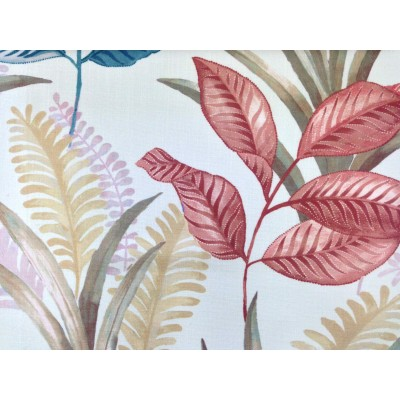 Плат за плътна завеса с листа в коралово и синьо