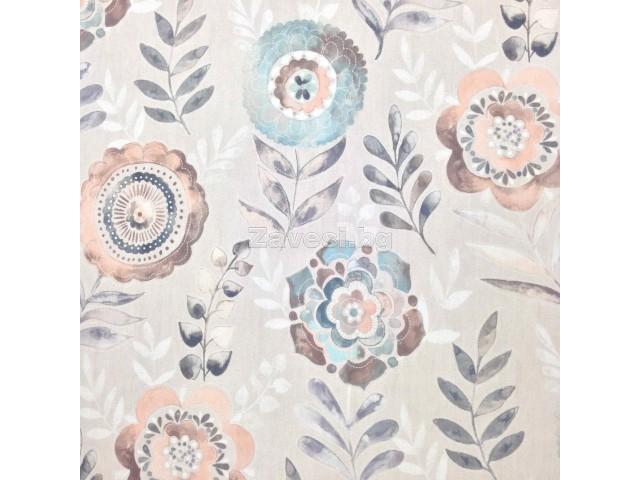 Плат за плътна завеса със стилизирани цветя в пастелни цветове