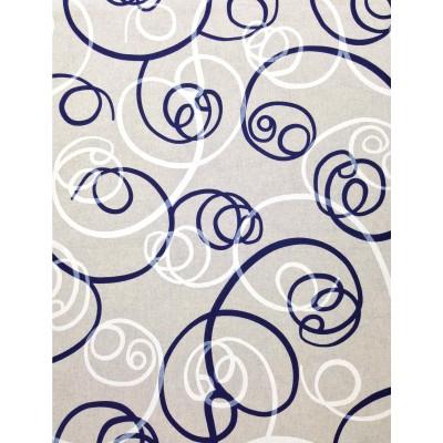Плат за плътна завеса със спираловидни елементи в синьо