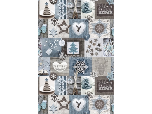 Коледен плат в синьо и кафяво