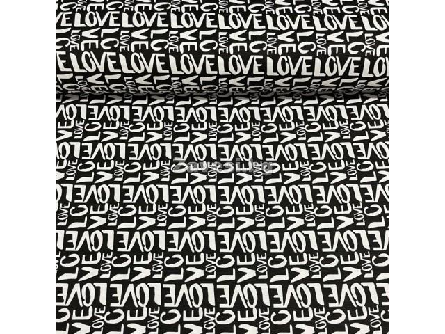 Плат за плътна завеса и дамаска с надписи Love на черен фон