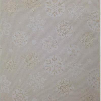 Коледен жакардов плат на снежинки със златисто