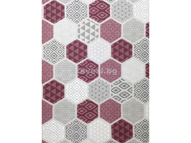 Плат за плътна завеса с геометрични форми в пепел от рози