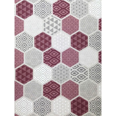 Curtain with geometric forms in purple