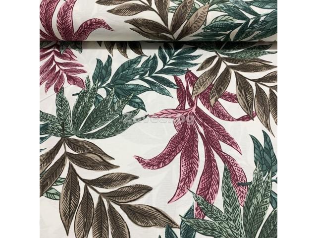 Дамаска с тропически листа в зелено и розово