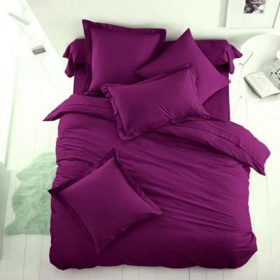 Едноцветен единичен спален комплект ранфорс в лилаво