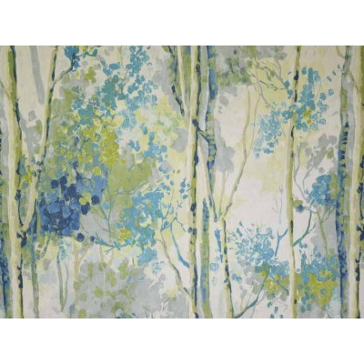 Curtain with watercolor patterns in blue
