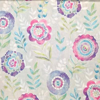 Плат за плътна завеса със стилизирани цветя в розово и лилаво