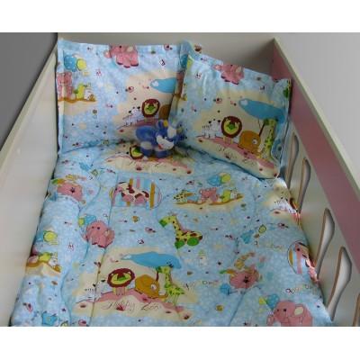 Бебешки спален комплект Зоопарк в синьо