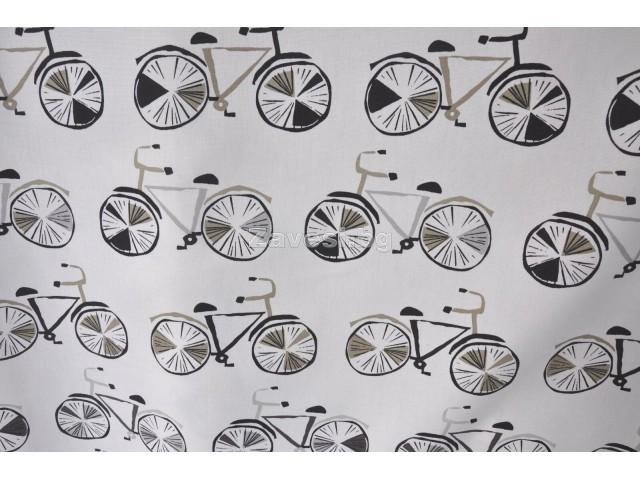 Плат за плътна детска завеса с колела в сиво