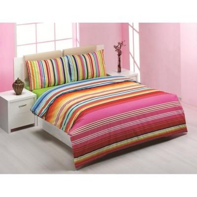 Единичен спален комплект ранфорс с цветно райе