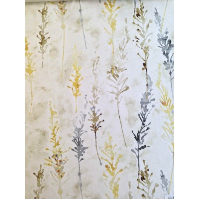 Curtain with abstract flowers in yellow and grey