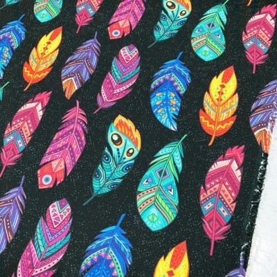 Curtain and upholstery with digital print Colorful featherings