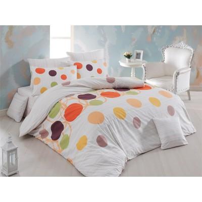 Единичен спален комплект от ранфорс Пойнтс в оранжево