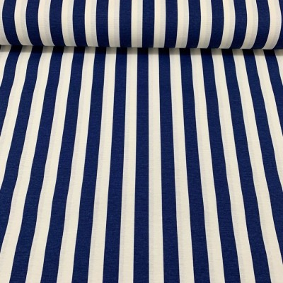 Curtain and upholstery with stripes in dark blue