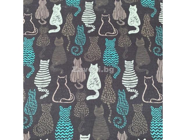 Плат за плътна завеса и дамаска с дигитален печат Котки в сиво и синьо