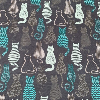 Curtains and upholstery with digital print Cats in blue and grey