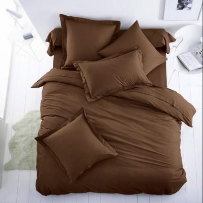 Едноцветен единичен спален комплект ранфорс в тъмно кафяво