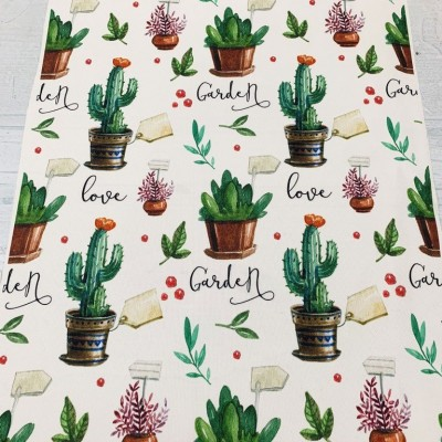 Tablecloth with cactus 50/140